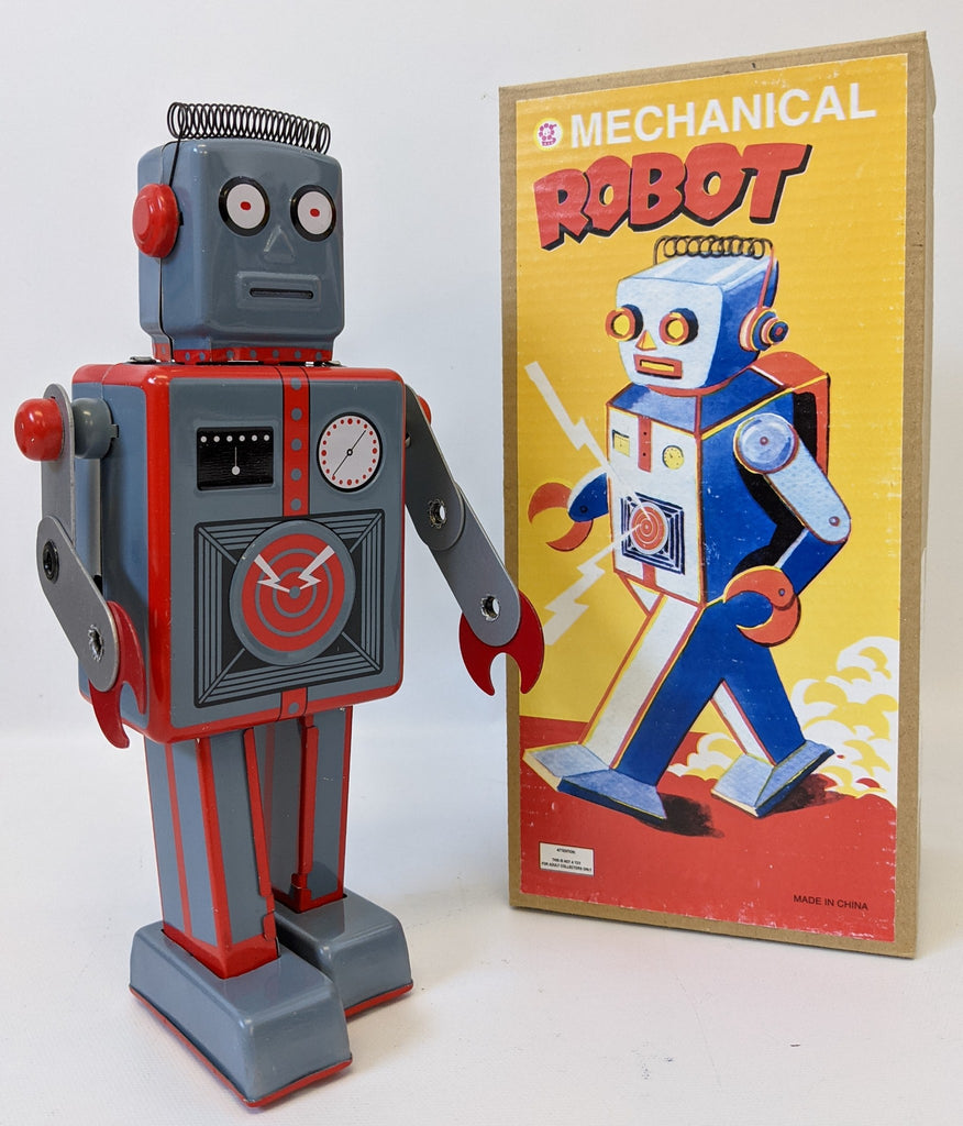 Retro SCHYLLING Tin Lithographed Wind-up MECHANICAL ROBOT Toy in Box with Key
