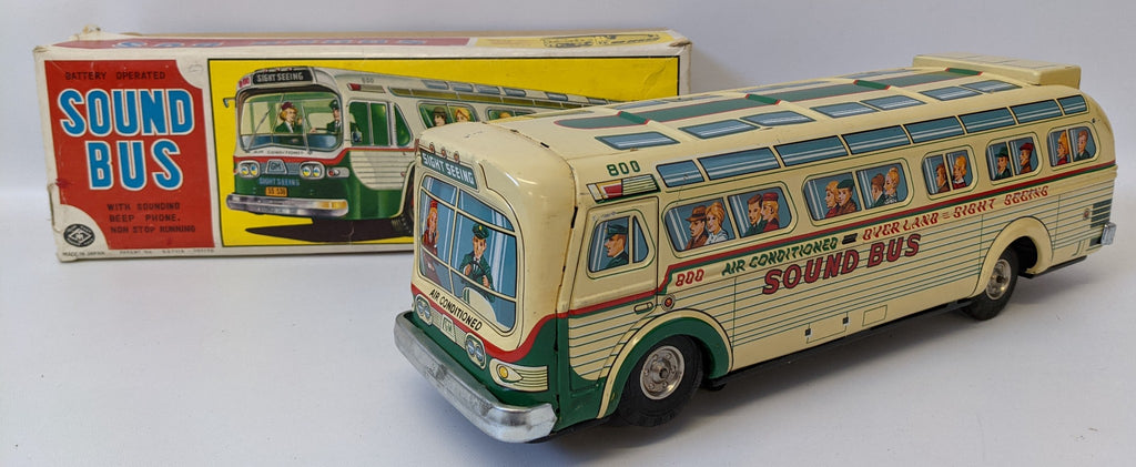 RARE Vintage 50's MASUDAYA (Japan) Tin B.O. #800 SOUND BUS Fishbowl Bus Toy