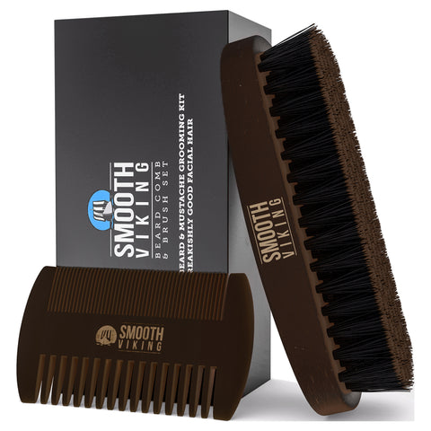 Dark Brown Beard Comb & Brush Set