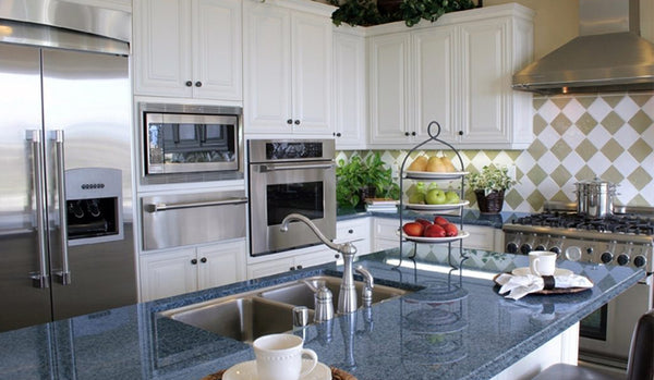 Blue Granite Countertops with White Cabinets