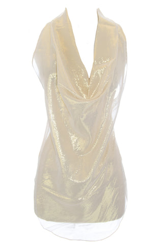 OLCAY GULSEN Women's Gold Sheer A-Symmetric Top 1034 $295 NEW