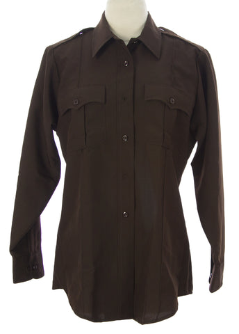 FLYING CROSS Women's Brown LS Button-Front Uniform Shirt $42 NEW