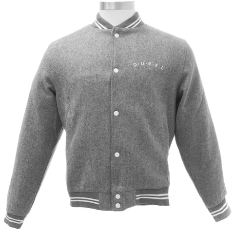 DURKL Men's Heather Grey Junior High Wool Varsity Jacket 2422 $170 NEW