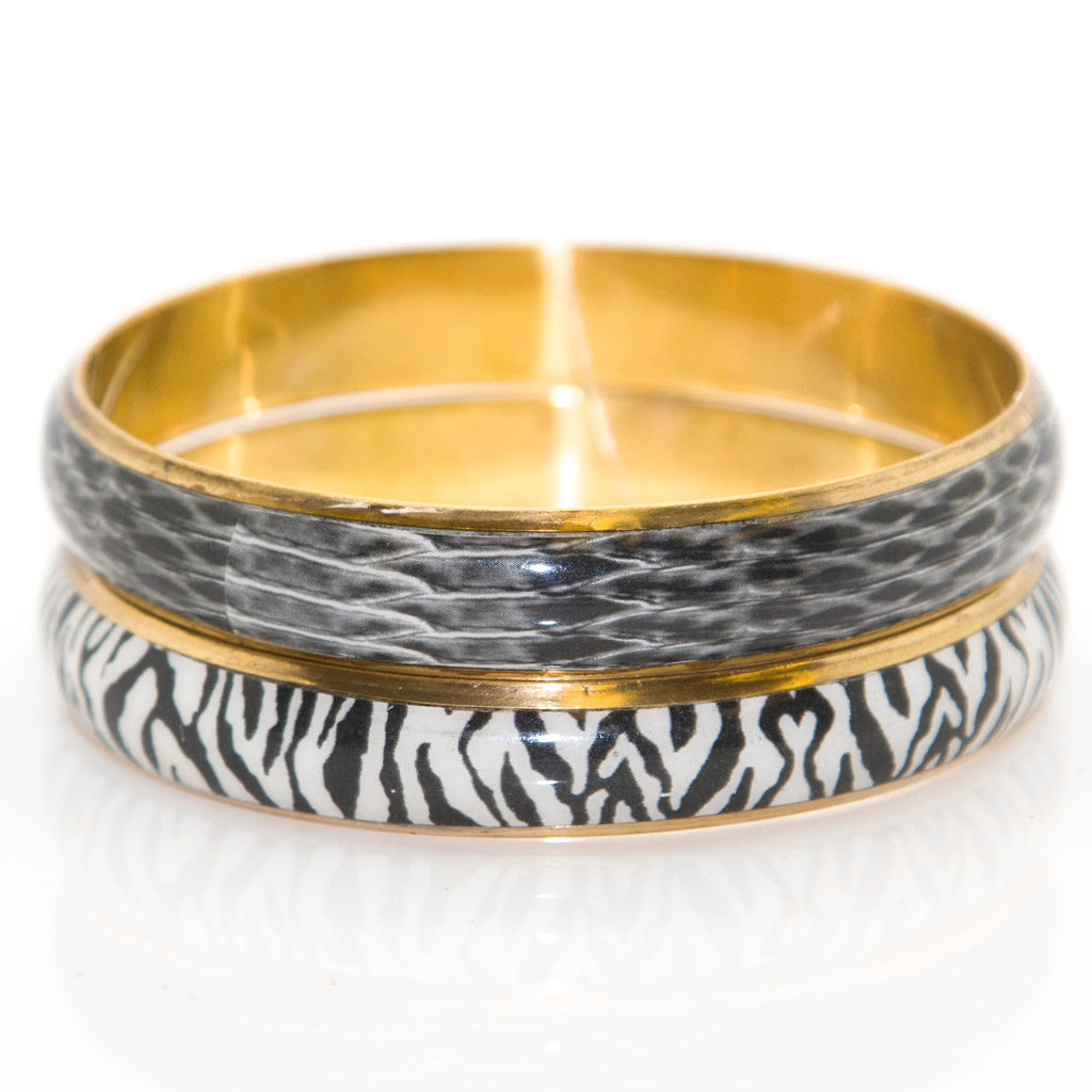 CHAMAK Black & White Printed 2-Pc Bangle Set 4 $38 NWT