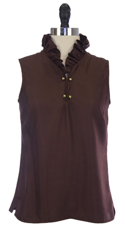ELIZABETH MCKAY Chocolate Sleeveless Ruffled Neck Mckay Blouse 4058 $195 NWT
