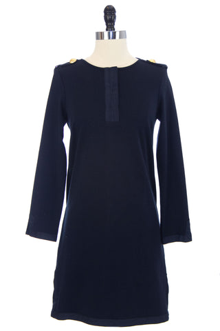 ELIZABETH MCKAY Navy Long Sleeve Above the Knee Shift Dress 5057 $265 NWT