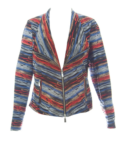 600 West Multi-Color Striped Jacquard Techy Zip-Up Jacket W125121 $158 NEW