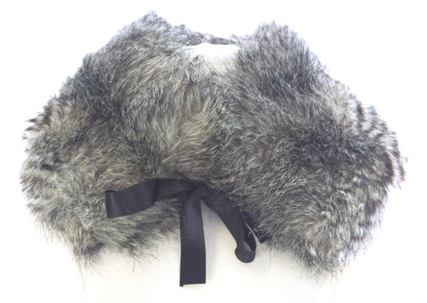 STEVIE MAC Women's Grey Faux Fur Hand-Made Fashion Collar Scarf #6424 Sz O/S NEW