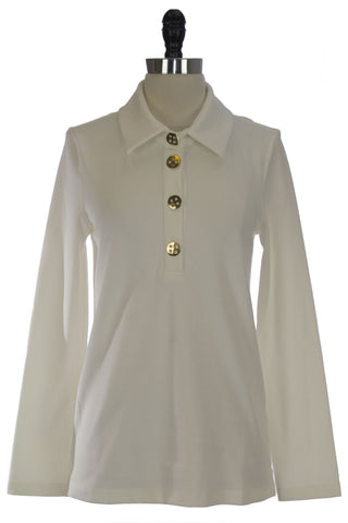 ELIZABETH MCKAY Whisper White Long Sleeve Polo Top 7053 $195 NWT
