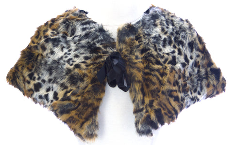 STEVIE MAC Women's Brown Leopard Faux Fur Fashion Wrap #753 NEW