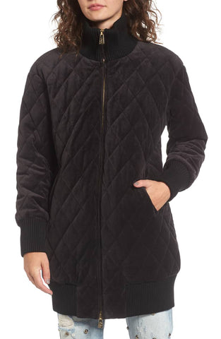 JUICY COUTURE Black Label Women's Black Velour Quilted Coat $298 NWT