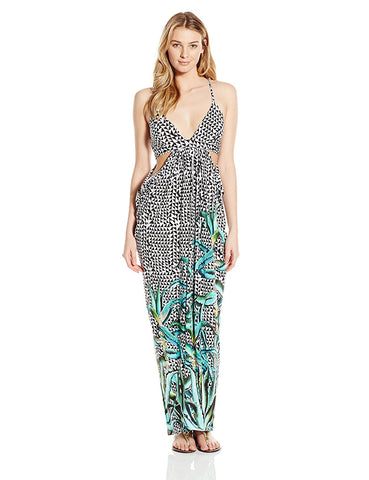 MARA HOFFMAN Green Aloe Cut-out Draped Cover-up Maxi Dress Sz XS $258 NEW
