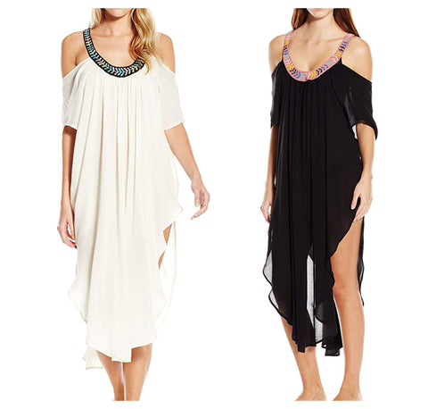 MARA HOFFMAN Embellished Off The Shoulder Caftan Cover-up Dress 95320 $348 NEW