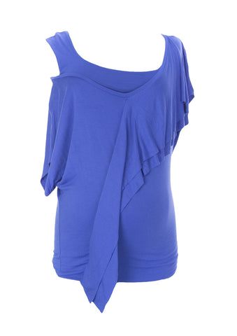 9FASHION Maternity Women's Andrea Blue Off-Shoulder Blouse Sz S $84 NEW