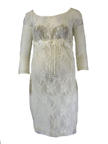 OLIAN Maternity Ivory Sheer Lace Dress with Beaded Waist Tie  $130 NWT