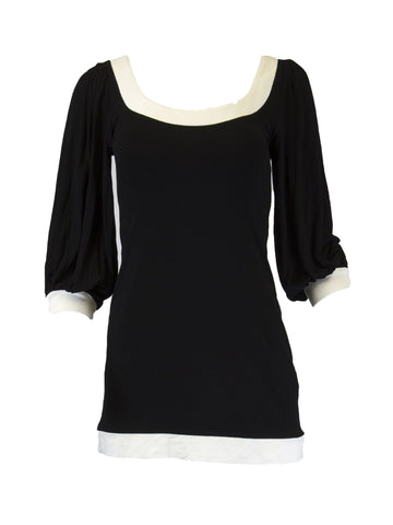 ANALILI Women's Black with Ivory Scoop Neck Top Size X-Small $135 NEW