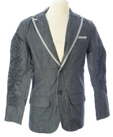 ARTFUL DODGER Men's Dark Grey Skeleton Denim Blazer AM83-B01 $198 NEW