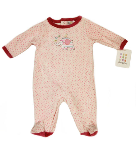 ABSORBA Baby Girls Pink Polka Dot Fuzzy Elephant Footie Jumpsuit AUNG5467 NEW