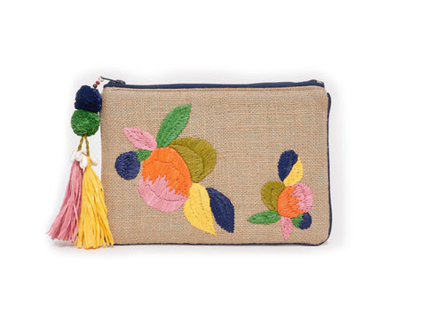 ROBERTA ROLLER RABBIT Women's Multicolor Jute & Raffia Ardelle Clutch $128 NEW
