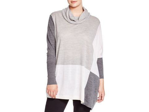 MARINA RINALDI Women's Grey/Cream Azione Colorblock Sweater $465 NWT