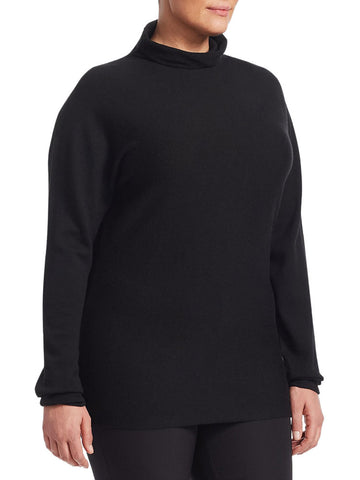 MARINA RINALDI Women's Black Azteco Turtleneck Sweater $565 NWT