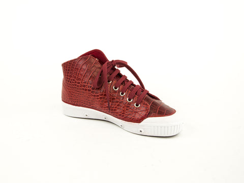 SPRING COURT Women's Red Croco Leather B2W Sneakers NEW