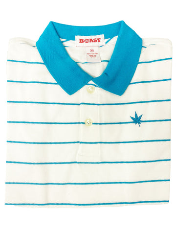 BOAST Boy's White/Mediterranean Pinstripe Polo Shirt $44 NEW