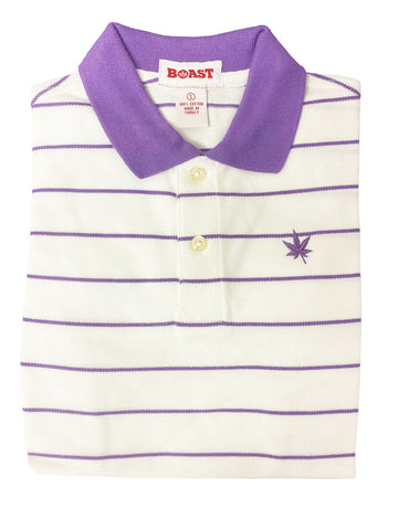 BOAST Boy's White/Purple Pinstripe Polo Shirt $44 NEW