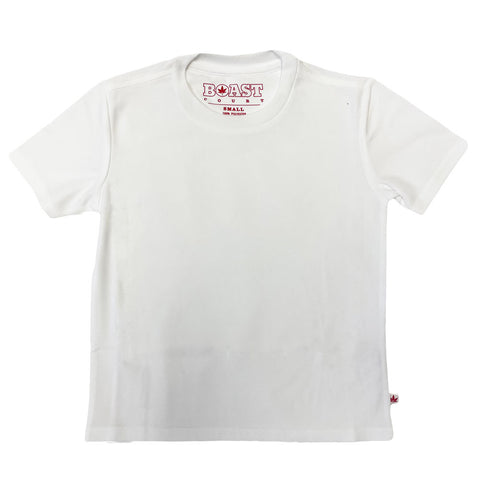 BOAST Boy's White Solid Court Tee Sz S $40 NEW