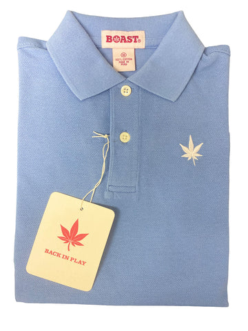 BOAST Boy's Carolina Blue Solid Pique Polo Shirt $44 NEW