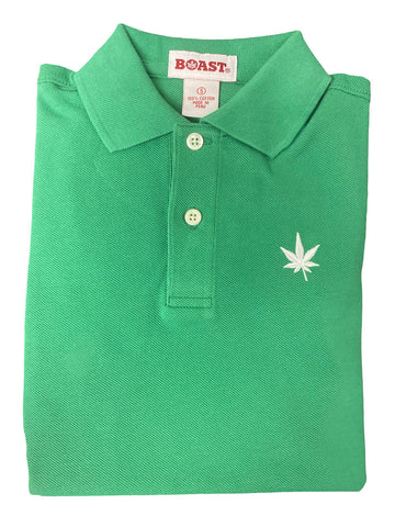 BOAST Boy's Kelly Green Solid Pique Polo Shirt $44 NEW