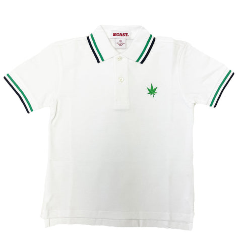 BOAST Boy's White/Green/Navy Tipped Pique Polo Shirt $44 NEW
