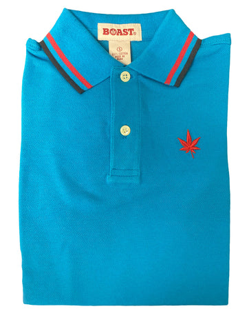 BOAST Boy's Bright Blue Tipped Pique Polo Shirt $44 NEW