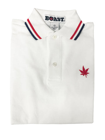 BOAST Boy's White Tipped Pique Polo Shirt $44 NEW