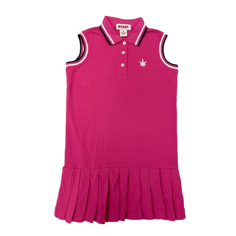 BOAST Girl's Fuchsia Tipped Pique Polo Tennis Dress $58 NEW