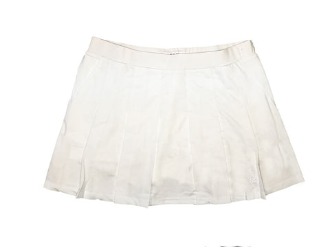 BOAST Women's White/White Leaf Pleated Court Tennis Skirt $88 NEW
