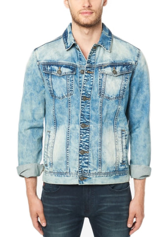 Buffalo David Bitton Men's Bleached & Printed Joe Denim Jacket BM20565 $99 NEW
