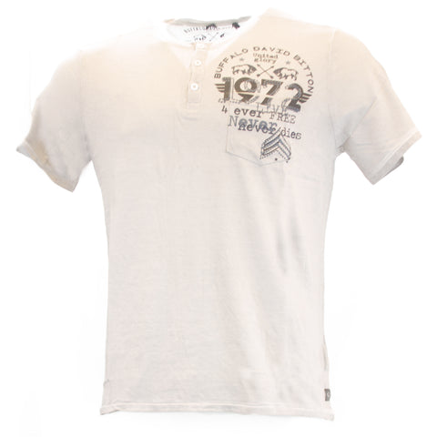 Buffalo David Bitton Men's Dirty White NYACOV Henley Shirt BPM12287B $59 NEW