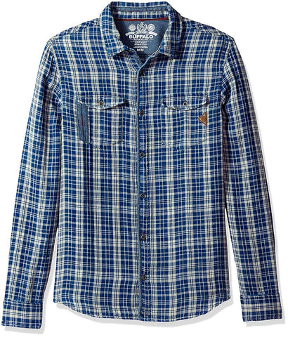 Buffalo David Bitton Men's Indigo Plaid Sabera Button-up Shirt BM19937 $69 NEW
