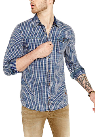 Buffalo David Bitton Men's Indigo Plaid Saugo-X Button-up Shirt BM19938 $79 NEW