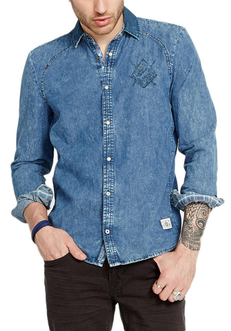 Buffalo David Bitton Men's Indigo Simogen Button-up Shirt BM19480 $69 NEW