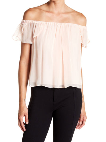LOVESHACKFANCY Women/'s Pink Daisy Off-the-Shoulder Top $235 NWT