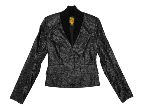 HANLEY MELLON Women's Black Lace Blazer with Ribbed Shawl Collar $650 NEW