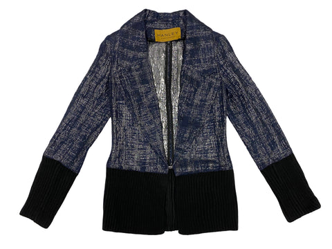 HANLEY MELLON Women's Blue Metallic Blazer with Ribbed Trim $650 NEW