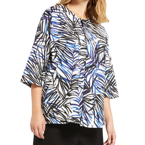 MARINA RINALDI Women's Multicolored Borabora Printed Blouse $295 NWT