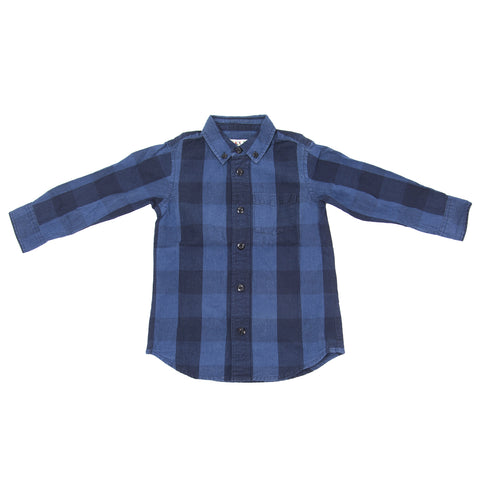 ALEX MILL Little Boys' Indigo/Blue Buffalo Check Shirt P111021B Sz 2 $95 NWT