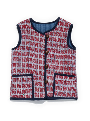 ROBERTA ROLLER RABBIT Boy's Red Gatito Quilted Reversible Vest $65 NEW