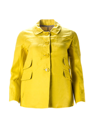 'S MAX MARA Women's Calore Bright Yellow Button Front Jacket Sz 4 $1,195 NWT