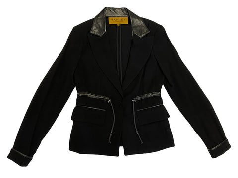 HANLEY MELLON Women's Black Crepe Blazer with Leather Detail $750 NEW