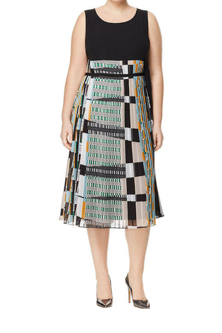 MARINA RINALDI Women's Black Decimo Pleated Dress $995 NWT